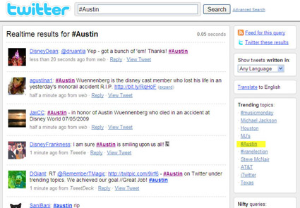 #austin Trending Topic Screen Capture